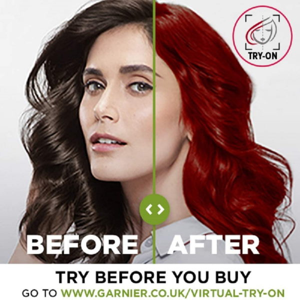 Garnier Nutrisse Red Hair Dye Permanent, Up to 100 Percent Grey Hair Coverage, with 5 Oils Conditioner - 6.60 Fiery Red