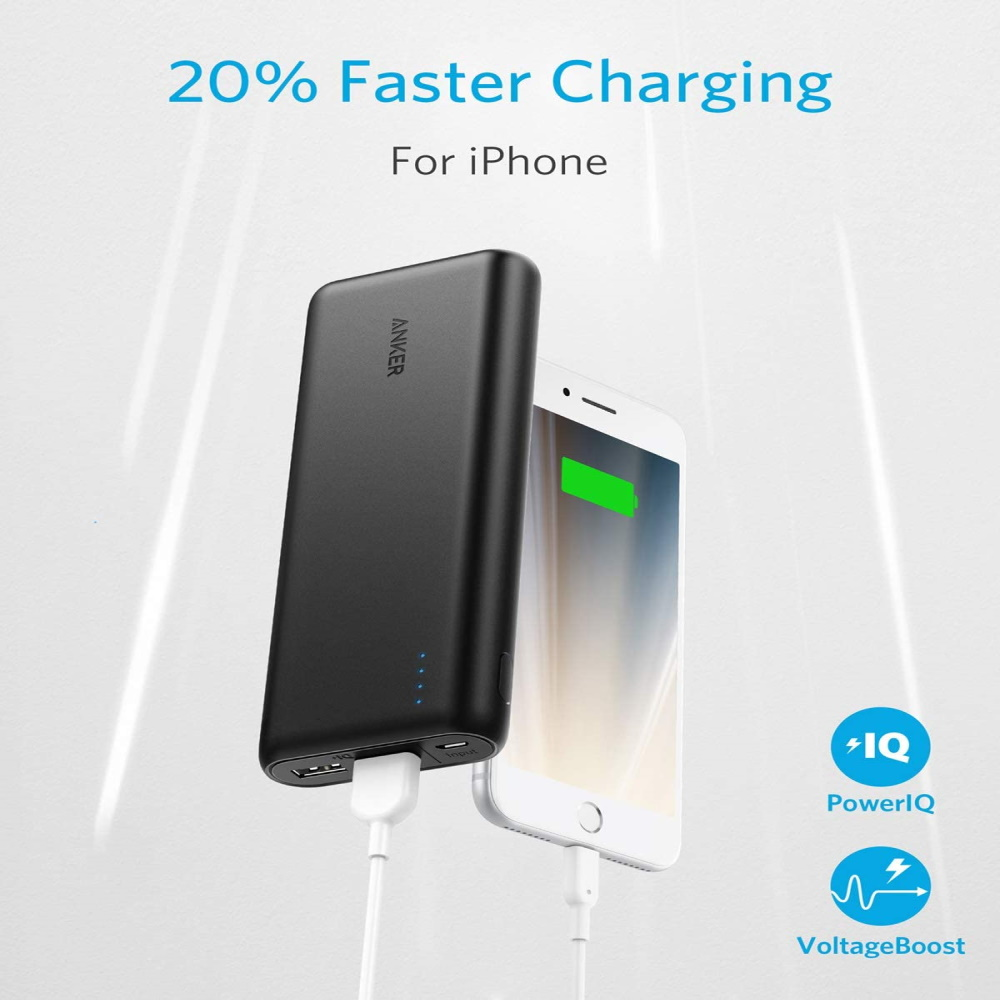 Anker PowerCore 20100 - 20000mAh Ultra High Capacity Power Bank with Powerful 4.8A Output, PowerIQ Technology for iPhone 7/6s/SE, iPad and Samsung Galaxy S8/S7 and More (Black)