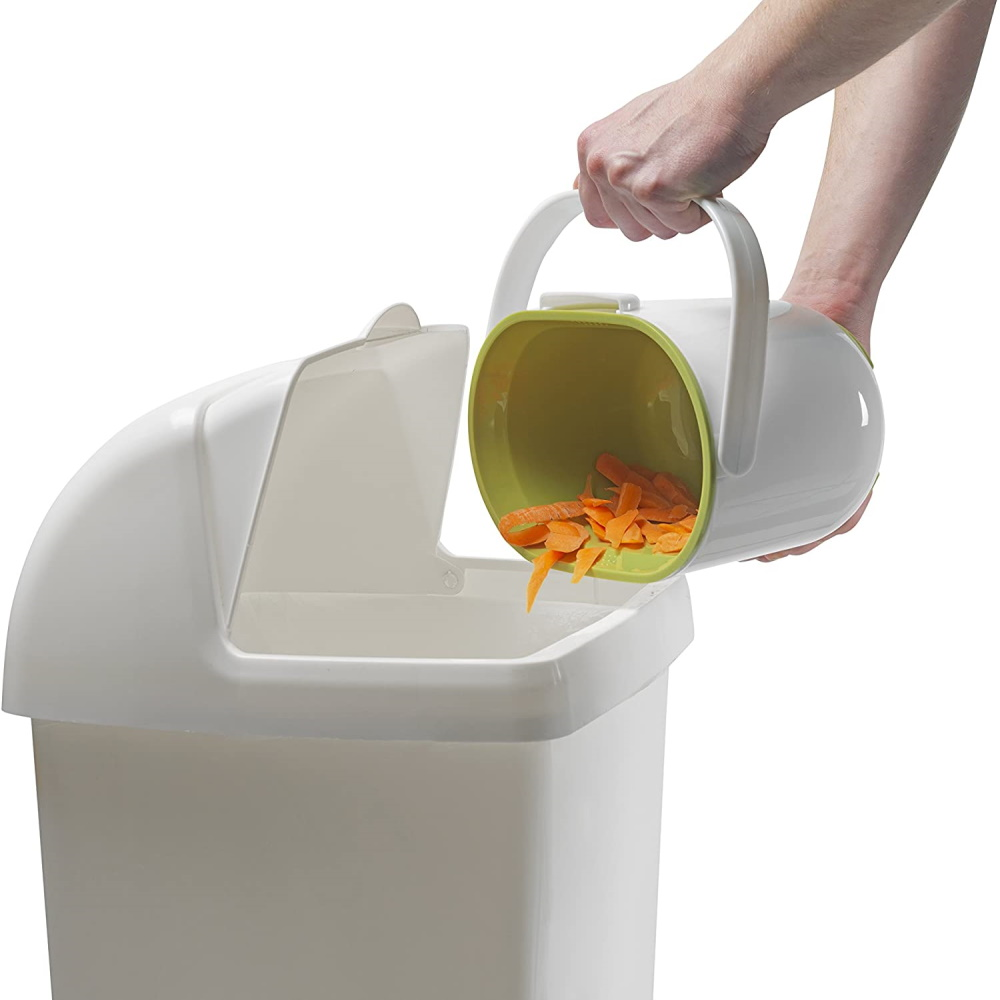 Addis 2.5L Kitchen Compost Caddy, White/Green