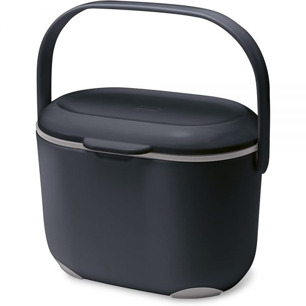 Addis 2.5 Litre Kitchen Compost Caddy, Black/Grey, 2.5L