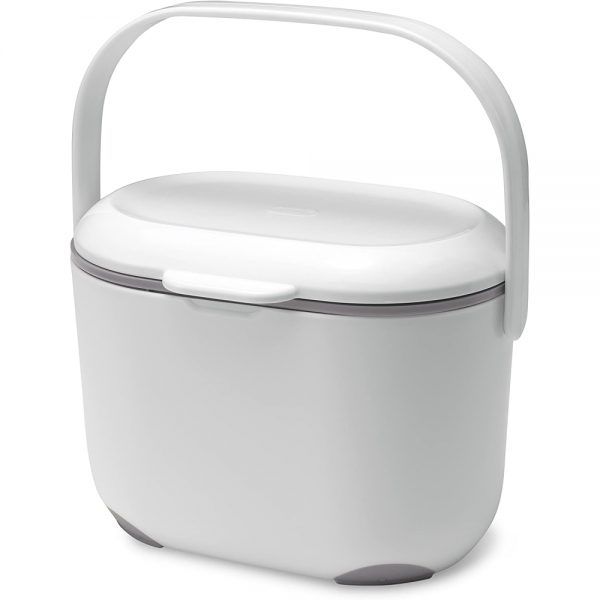 Addis 2.5 Litre Kitchen Compost Caddy, White/Grey, 2.5L
